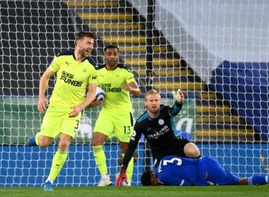 Newcastle United's Paul Dummett (left) celebrates scoring their side's second goal.