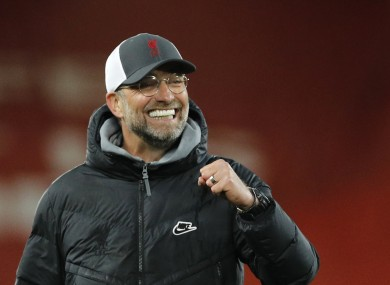 Liverpool manager Jurgen Klopp reacts after the final whistle.