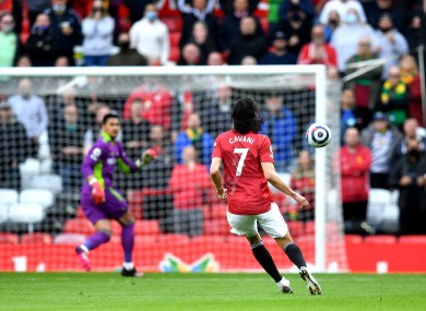 Manchester United's Edinson Cavani scores the first goal of the game.