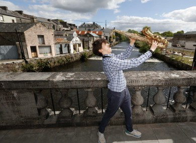 Dillon Hogan of Roscommon County Youth Orchestra over the Boyle River in Boyle