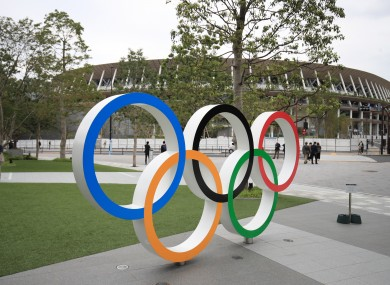A general view of Olympic Rings outside the Olympic Stadium in Tokyo.