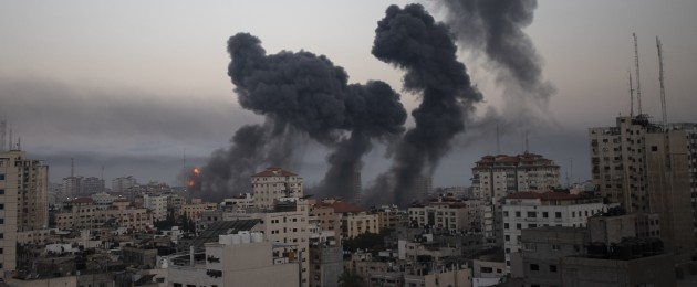 Smoke rise from Israeli airstrikes on Gaza City. 12 May.