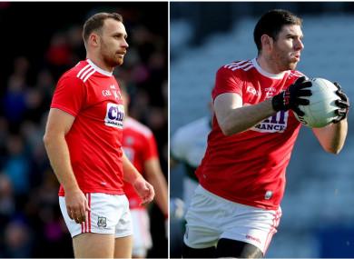Cork forwards Ciaran Sheehan and Luke Connolly.