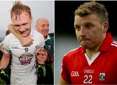 Kildare's Paul Cribbin and Cork's Brian Hurley.