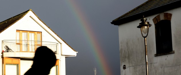 The bright colours of a rainbow ahead of heavy showers in Dublin city centre.