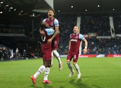 Celebrations after West Ham's third goal.