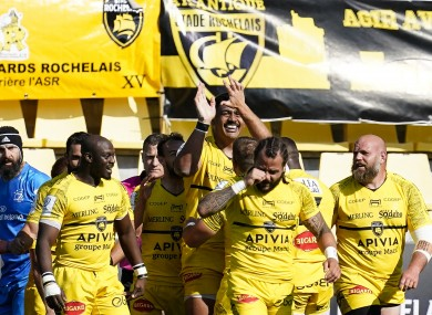 La Rochelle celebrate a try against Leinster.