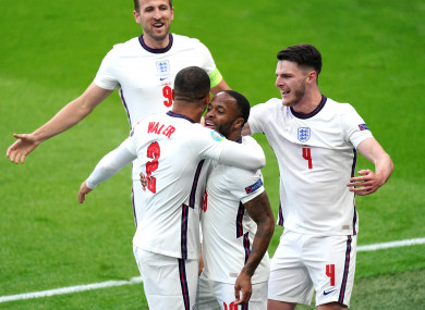 Sterling celebrates his goal against the Czech Republic.