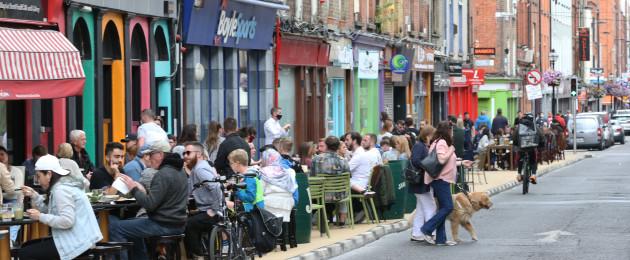 Outdoor dining on Capel Street in Dublin.