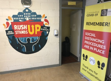Covid-19 signage lining the corridors in St Joseph's Secondary School last August