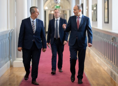 Taoiseach Micheál Martin meeting with DUP Leader Edwin Poots and Paul Givan, Democratic Unionist Party MLA