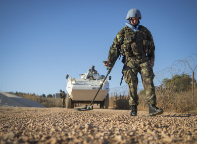 Irish soldiers scan the road for Improvised Explosive Devices in South Lebanon.
