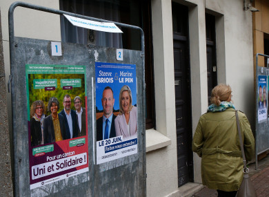 Electoral campaign posters for the northern France region