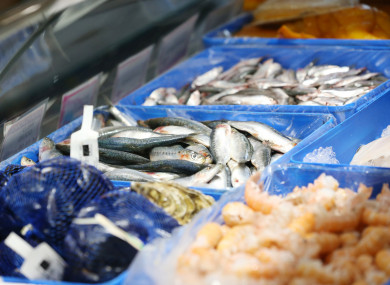 """Fresh fish for sale in """"Nicky's Plaice"""" fish shop on Howth Pier."""