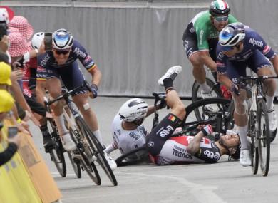 Peter Sagan crashes with Caleb Ewan.