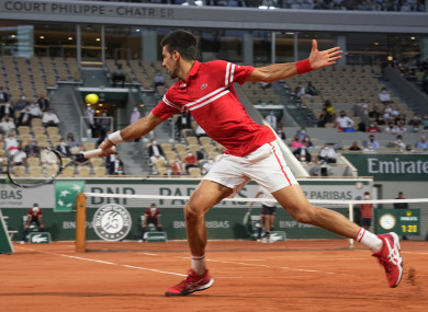 Djokovic in action this evening.