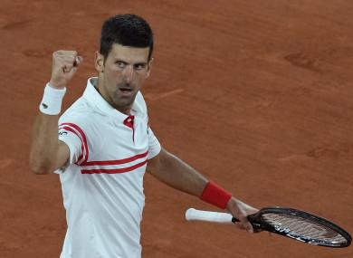 Djokovic celebrates after beating Nadal.