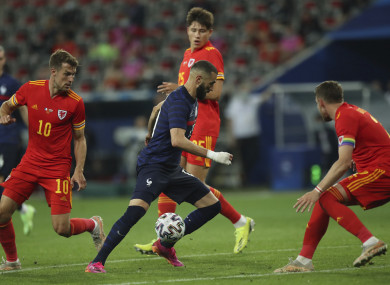 Karim Benzema in action for France against Wales.