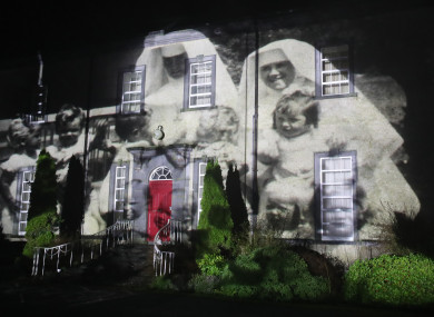 A picture of nuns and children from a mother and baby home was projected onto Sean Ross Abbey as part of the Herstory Light Show on St Brigid's Day.