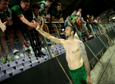 Republic of Ireland's Shane Duffy greets fans after the international friendly match at Szusza Ferenc Stadium, Budapest.