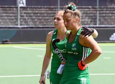 Katie Mullan and Lena Tice dejected after yesterday's draw with Spain.