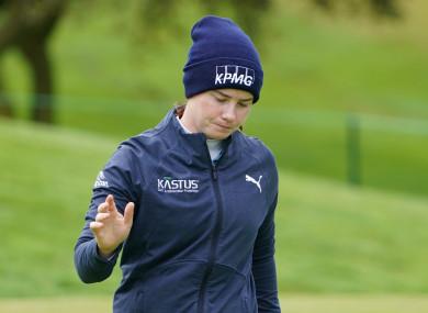 Maguire lands a putt in her third round.