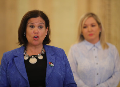 Sinn Fein's leader Mary Lou McDonald (left) with Deputy First Minister Michelle O'Neill