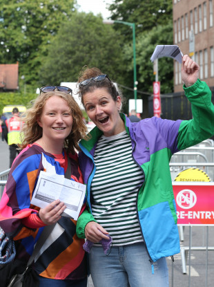 Ailbhe Hickey and Emily Coss arriving at the Iveagh Gardens to see James Vincent McMorrow perform last night.