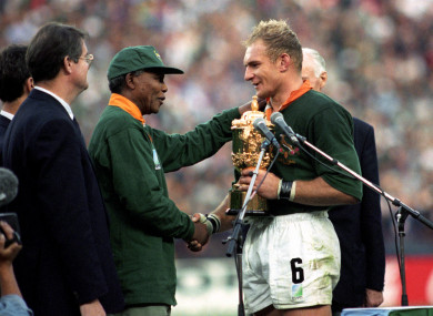 Nelson Mandela and Francois Pienaar after South Africa won the 1995 Rugby World Cup.