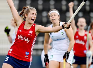 England's Sarah Evans celebrates scoring a goal.