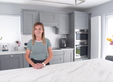 Vicki in her new kitchen.