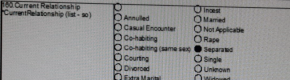 'Rape' and 'incest' listed as 'current relationship status' options on Commission form