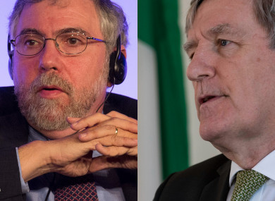 Economist Paul Krugman (L) and Irish Ambassador to the US Daniel Mulhall