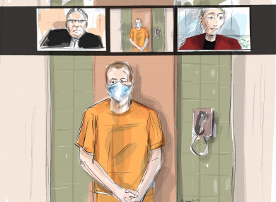 n this artist's sketch, Nathaniel Veltman makes a video court appearance in London, Ontario