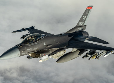A U.S. Air Force F-16 Fighting Falcon fighter aircraft over Iraq.
