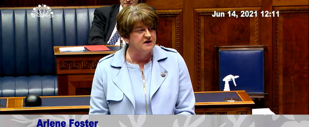 Arlene Foster addresses the Stormont Assembly this morning