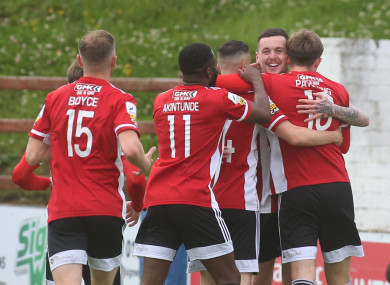 Will Patching celebrates scoring a penalty for Derry City.