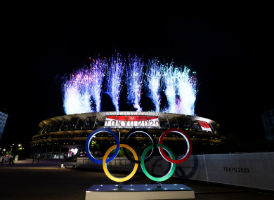 A general view of the 2020 Tokyo Olympic Games opening ceremony.