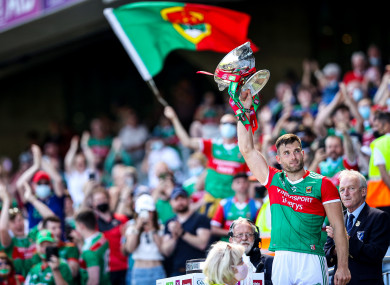 Mayo captain Aidan O'Shea lifts the JJ Nestor Cup: 18,000 fans were permitted in Croke Park for last Sunday's Connacht football final.