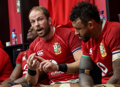 Jones speaks to his Lions players last weekend.
