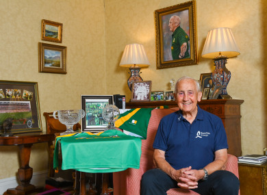 Seán Boylan pictured at home with some stand out medals and awards from his career. Seán was helping to launch the Bord Gáis Energy GAA Legends Tour Series for 2021.