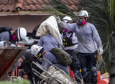 The remains of children have been found in the rubble of a collapsed apartment building near Miami for the first time.
