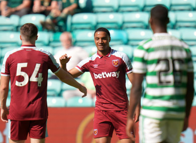 West Ham's Armstrong Okoflex (centre) celebrates scoring their side's sixth goal of the game.