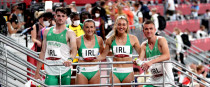 Ireland's Cillin Greene, Phil Healy, Sophie Becker and Christopher O'Donnell after qualifying for the final yesterday.