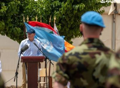 Coveney addressing Irish troops in south Lebanon.