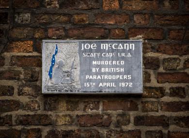 A plaque on the spot where Joe McCann was shot dead in April 1972 (PA)