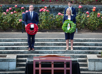 Paul Givan and Michelle O'Neill at a Battle of the Somme wreath-laying ceremony at the Irish National War Memorial at Islandbridge.