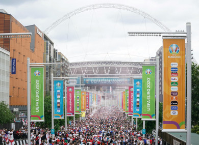 Crowds in front of Wembley Stadium