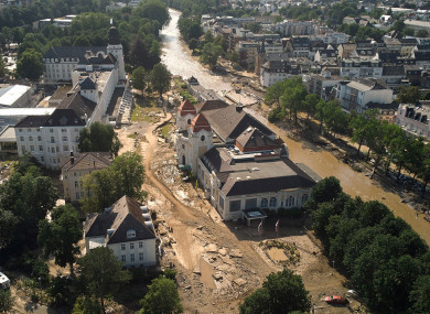 Damage and debris from flooding near the Ahr River, in Bad Neuenahr, Germany (dpa/AP)