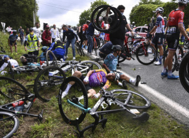 A crash at the first stage of the Tour de France.